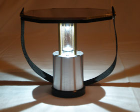 The HiNation lamp is powered by solar energy stored in lithium polymer batteries. Photo: Peder Bollnert.