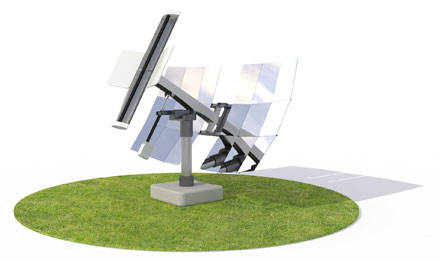 Global Sun Engineering's solar concentrator is mobile at two points, allowing the unit to track sunlight from morning to evening.