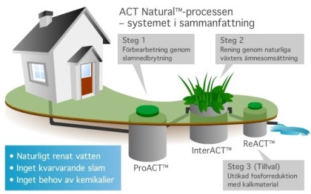 The ACT Natural ™ process in a nutshell. Step 1: Preparing the sludge for decomposition, ProACT™ Step 2: Cleaning the sludge with plants, InterACT™ Step 3: Phosphor reduction with lime, ReACT™ -Naturally cleaned water -No more sludge -No need for chemicals