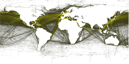 Trade routes in the global shipping industry ( T.Hengl, http://www.nceas.ucsb.edu/globalmarine/impacts)